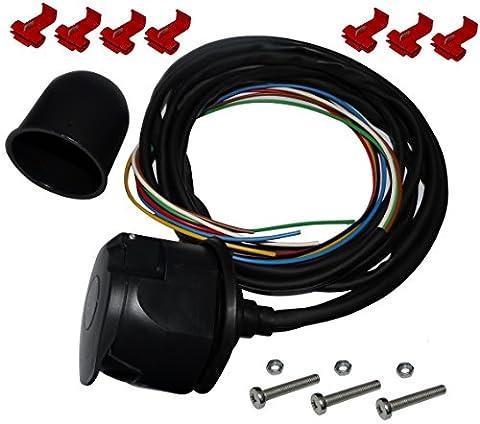 Aerzetix: Kit faisceau prise fiche de remorque câble 2m câblage