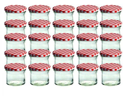 CapCro 25er Set Sturzglas 125 ml Marmeladenglas Einmachglas Einweckglas to 66 rot Karierter Deckel