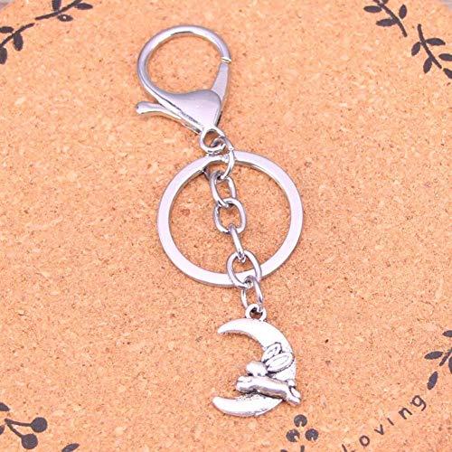 DdA8yonH Schlüsselbund feine Silberne Farben-Legierungs-Metallanhänger-Mond-laufendes Kaninchen-Schlüsselketten-Schlüsselring-Geschenk für Auto Keychain Zusatz