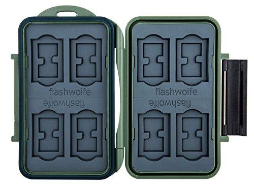 Flashwoife Turtle-SD8MSD16G spritzwasserdichte Speicherkarten Schutzbox, patentierte Aufnahme, 8 Stück SDHC und 16 Stück MicroSD Cards Case, olivgrün (Abdichten Stuck)