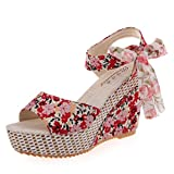Yesmile Sandalias para Mujer Zapatos Casual de Mujer Sandalias de Verano para Fiesta y Boda Moda Slope con Chanclas Sandalias Mocasines con Florales (38, Rojo)