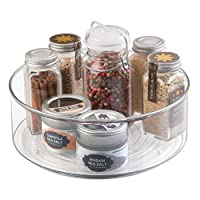 mDesign Lazy Susan Turntable Condiment Holder - Plastic revolving Condiments and Spice Rack - Ideal Kitchen Storage Unit for Cooking Oil, Ingredients, Bottles and Jars - Clear