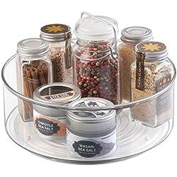mDesign plateau tournant pour épices - carrousel cuisine en plastique résistant avec rebords élevés - accessoire de rangement pour frigidaire, placard, table de cuisine, etc. - transparent