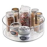 mDesign Especiero giratorio para armario y mesa de cocina - Práctico estante para utensilios de cocina - Plato giratorio de plástico para especias - transparente