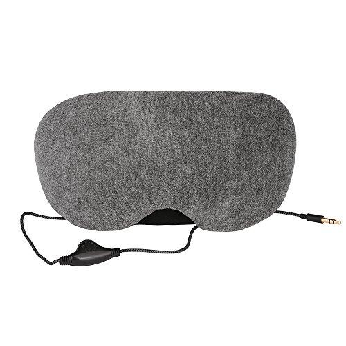 miaoma Eye Maske mit Kopfhörer & Verstellbarer Kopfbügel Super Weich Bequem für Schlaf und Reisen (One Band), Gray1