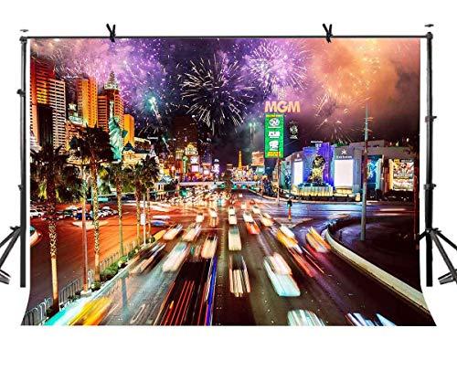 EdCott Belebte Straße (7x5 Fuß), belebte Straßen der Stadt, brillantes Feuerwerk Nachtansicht Fotografie Kulisse Fotostudio Fotografie Hintergrund Requisiten Videostudio Requisiten LYXC201 (Fotografie Kulissen Der Stadt)