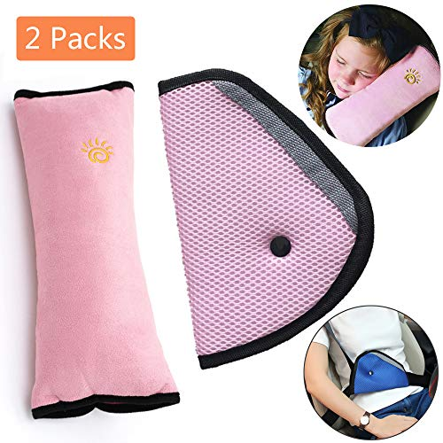 Car Seat Belt Kids Safety Seatbelt Strap Soft Shoulder Pad Cover Head Neck Support With Seatbelt Clip for Children More Comfort on The Journey (Pink)
