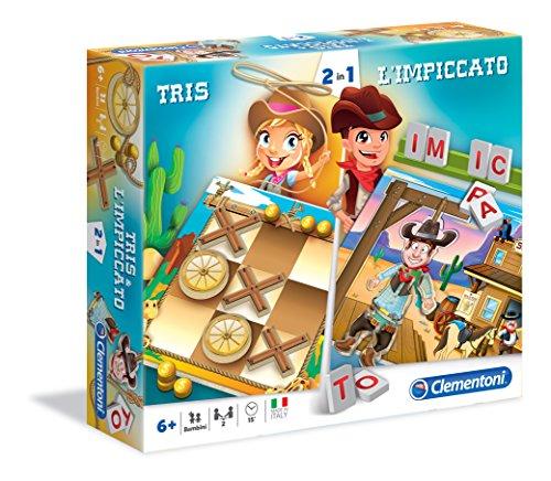 Clementoni 16064 - Tris & l'Impiccato, Giochi da tavolo 2 in 1