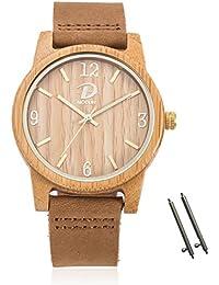 Reloj de bambú de madera unisex de 40mm, correa de cuero genuino de moda, exhibición analógica de MODUN Reloj de movimiento redondo de Japón Miyota (bambú)