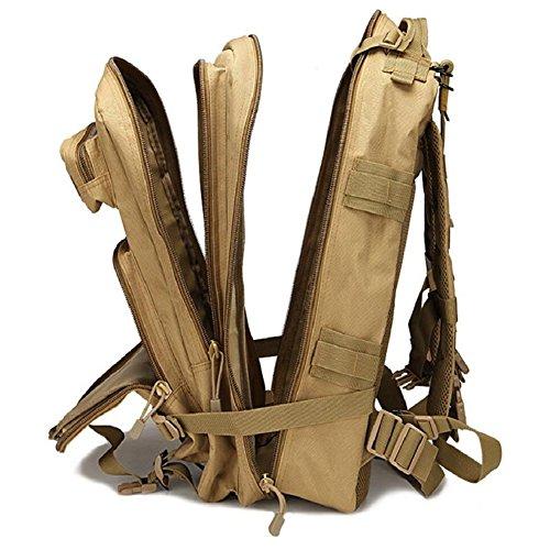 ZX&Q Oxford Wasserdichte Bergsteigen Tasche Portable Attack Tactical Rucksack Outdoor Travel Camouflage Sport Große 3P Doppel Schulter 40L Rucksack C