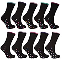Cottonique Ladies Cotton Rich Socks Black 4-8 10 Pack Multi(Size: One Size)