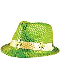Sequin Trilby Hat (Green Shamrock) St Patricks Day Fancy Dress