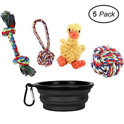 Puppy Rope Toys, 5 Pack Rope Dog Toys Set and Silicone Food Water Bowl for Small and Medium Dogs