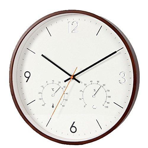 Orologio da parete orologio in legno piegato conciso semplice ed elegante termometro multifunzione igrometro orologio preciso 14 pollici 35.5cm silenzioso 1.5 v batteria aa per soggiorno camera da letto bianco marrone ( color : brown )