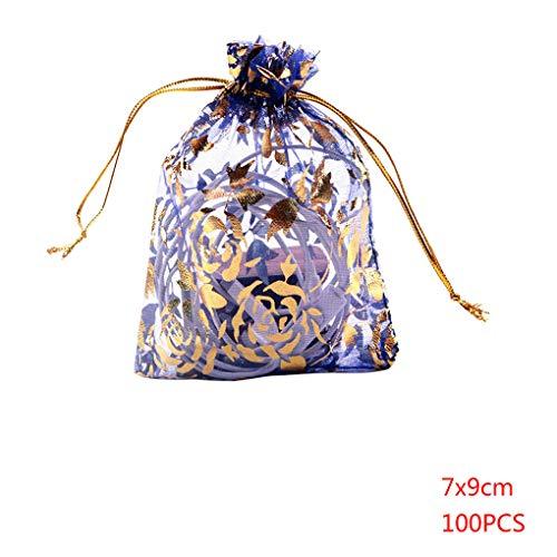 Kakiyi 100PCS Mischfarbe Trockene Blume Netzaufbewahrungstasche mit Kordelzug Süßigkeit-Geschenk-Beutel-Partei-Hochzeit Festival-Bevorzugungs-Geschenk-Taschen