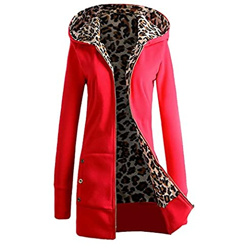 Blivener Women Leopard Fleece lined Coat Zipper Hooded Hoodie Sweatshirt RED M