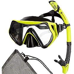 """Premium kit de snorkeling """"Barracuda"""" de Sportastisch :: couleur : JAUNE :: masque de plongée + tuba :: verre durci avec couche anti-buée pour une vue parfaite :: champs de vision maximal :: tuba sec"""