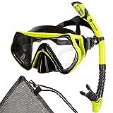 Sportastisch Schnorchelset Taucherbrille Top¹ Barracuda mit extra langem Trockenschnorchel und...