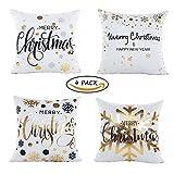 Vamei paquete de 4 almohadas de Navidad cubiertas cómodas Casos Cojín cuadrado para Navidad decoración del hogar