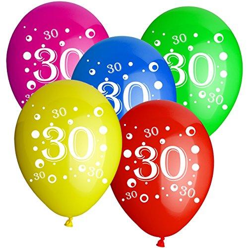 10x Rundballons Zahl 30 bunt Ø30cm + Geschenkkarte . + Helium & Ballongas geeignet. Luftballon Deko zur 30. Geburtstagsfeier und tolles Luftballongeschenk zum 30. Geburtstag
