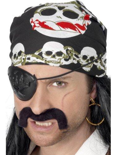 Smiffys Karneval Kostüm Zubehör Piraten Bandana mit Totenkopf Knochen Herren