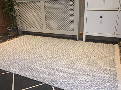 Pale Grau Natur Fischgrätenmuster Soft Baumwolle Garn Teppich 120cm x 180cm - Baumwolle Teppich Garn
