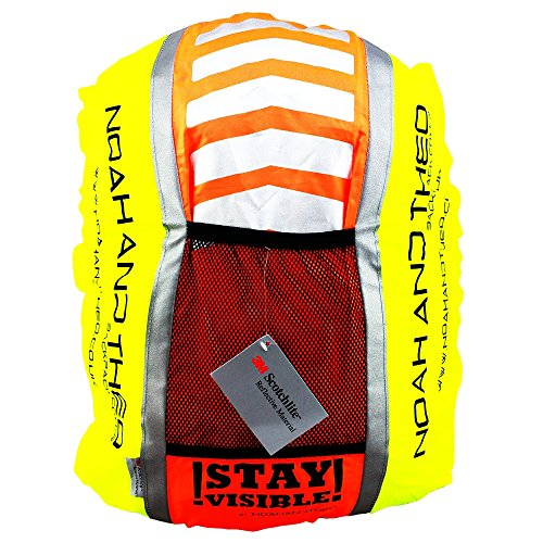 51WwgEShJeL. SS500  - Noah And Theo STAY VISIBLE Reflective High Viz Waterproof Cycling Backpack Rucksack Pannier Bag Rain Cover with 3M…