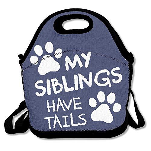 Wincan My Siblings Have Tails Wiederverwendbare Ziplock-Crossbody-Picknicktasche für Büro, tragbare Brotdose, Kühltasche für die Schule und für Damen, Erwachsene, Jungen und Mädchen