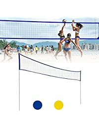 fllyingu Set de Red de Voleibol de PlayaRed de Tenis Bádminton Portátil Desplegable Ajustable con Soporte,Resistente Portable pour Badminton, Volley-Ball, Tennis