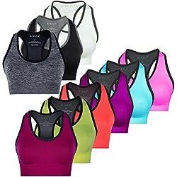 M-Mala Sport BH Sport-BH Yoga Bralette 3er Pack abnehmbare Polsterung Schock Absorber Compression, XL, 3X Mix 3