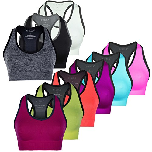 M-Mala Sport BH Sport-BH Yoga Bralette 3er Pack abnehmbare Polsterung Schock Absorber Compression, M, 3x Mix 3