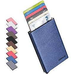 LUNGEAR Porte Carte Pop Up de crédit RFID bloquant Le Portefeuille de Cartes pour Hommes et Femmes en métal Protecteur de Carte de crédit en Cuir PU Surface Matériau