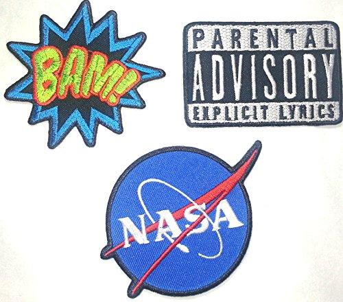 Toppa Toppe Patch applicazioni termoadesiva termoadesive Stoffa per Jeans Vestiti Bambini 3 pezzi NASA BAM (Nasa Patch)