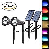 Proyectores solares, 7 luces solares LED que cambian de color, luz separada T-Sunrise y panel solar, luz de paisaje exterior impermeable para patio, porche, camino, cubierta, jardín, garaje, entrada (2PACK)