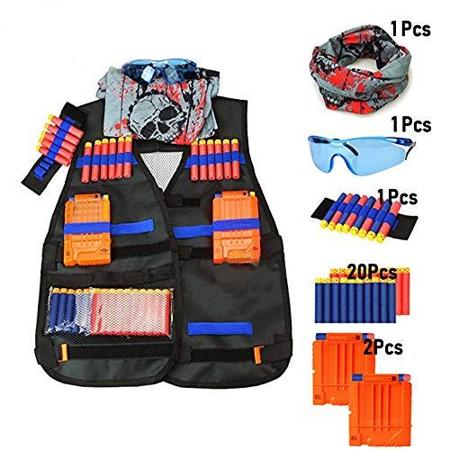 gotyou Nerf Gilet Tactique Enfants Set, pour Nerf Guns N-Strike Elite Series,20 Fléchettes Souples, 2Chargeurs de 6 Fléchettes, 1 Masque, 1 Dart Poignet,Lunettes Protection,Foulard