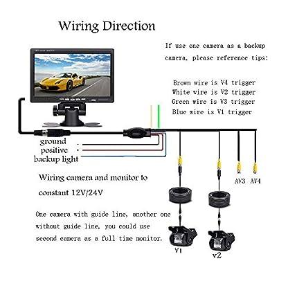 Podofo-4-Geteilte-178-cm-7-Zoll-Bildschirm-mit-2-Rckfahrkameras-fr-wasserdichte-Auto-18-IR-Nachtsicht-10-m-Kabel-Aviation-4-Pins-Auto-Rckfahrkamera-fr-Wohnmobil-LKW