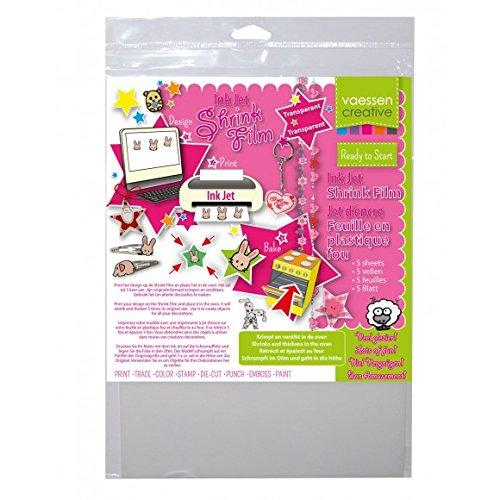 Vaessen Creative Shrink Plastic for Ink Jet A4 Transparent (5 Sheets), 21 x 29.8 x 0.3 cm