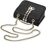 kleine originelle Damentasche Clutch – Tasche mit Nieten und Kettenriemen (schwarz)