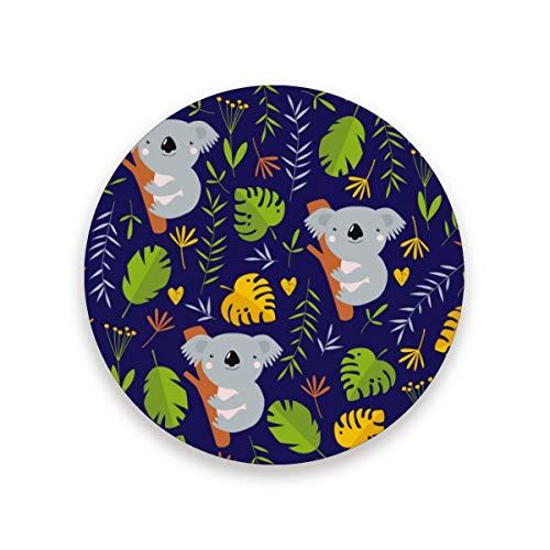 Blatt-wein-untersetzer (Niedliche Koala-Blätter, rund, saugfähig, Keramik, Stein-Untersetzer, Kaffeetassen, Matten-Set für Zuhause, Büro, Bar, Küche (Set von 1 Stück), keramik, multi, 4er-Set)