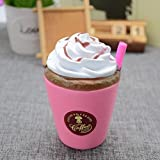 Hansee Coffee Cream Cup With Tubularis Slow Rising Scented Toy Soft Squishy Squeeze Toy (11x7cm, Pink)
