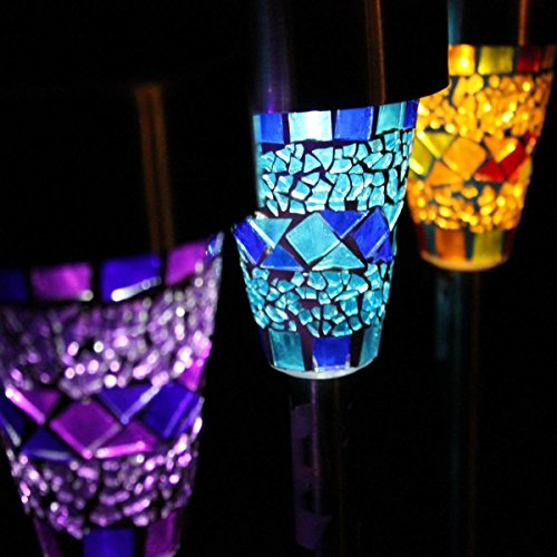 Katomi Solar Mosaic Border Garden Post Lights (3 Pack)