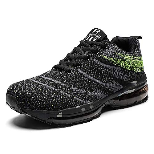 Scarpe da Ginnastica Uomo Donna Scarpe Corsa Air Cushion Sportive Running Atletico Allacciare Sneakers Verde 38
