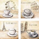 Artland Leinwand-Bild fertig aufgespannt auf Holzfaserplatte mit Motiv A. S. Mocca in Wien, Cappuccino in Rom, Café au lait in Paris, Espresso in Pisa Ernährung Getränke Kaffee Malerei Creme D1IP