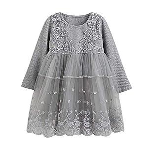 Proumy ◕ˇ∀ˇ◕ Baby Mädchen Kleid Prinzessin Spitzenkleid Strick Tüll Cap Tutu Kleider Jersey Kleid Outfit Mini Ballkleider Abendkleid Party Kleidung