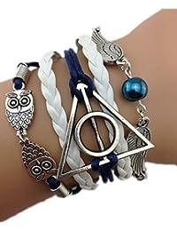 Infinity Bijoux - Pulsera infinito harry potter, búho, alas de ángel y perla / eternidad / one direction - blanco/ plateado