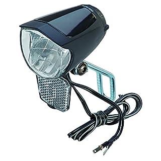 Prophete LED-Scheinwerfer 70 Lux, mit EIN-/Ausschalter, mit Standlicht und Sensorautomatik, Abnehmbarer Reflektor und Nirosta Halter, für Naben-und Seitendynamo, schwarz, L