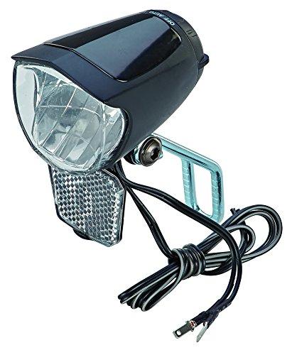 Led-fahrrad-scheinwerfer (Prophete 70 Lux, mit Ein-/Ausschalter, mit Standlicht und Sensorautomatik, Abnehmbarer Reflektor und Nirosta Halter, für Naben-und Seitendynamo LED-Scheinwerfer, Schwarz, L)