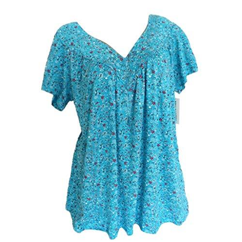 Bluse Damen Herbst Shirt Knopf Fünfzackigen Stern Hot Drill Tops Oberteil Langarm 3/4 Ärmel O-Ausschnitt Sweatshirt Langarmshirt Lose Hemd ()