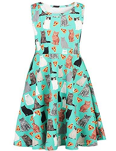 Adicreat Girls Cute Sleeveless Dress Round Neck Print Casual Party Sundress 4-12 Years