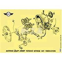 Esplosione rappresentazione colore poster (72x 50cm) quattro velocità con piede cambio–adatto per AWO Sport